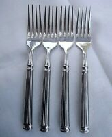 Cambridge Stainless Dinner Fork Ribbed Handle Rounded End 8 in long Lot of 4