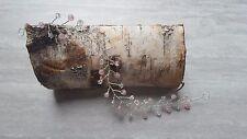 """13"""" 6mm Rose quartz rounds and clear quartz 6mm bicones Wedding/Prom hair vine"""