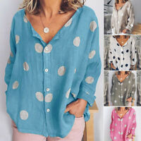 Women's Ladies V Neck Tops Long Sleeve T-Shirt Casual Dot Printed Summer Blouse