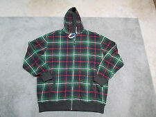 NEW VINTAGE Ralph Lauren Polo Hoodie Jacket Adult 2XL XXL Green Plaid Sweater