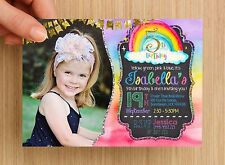Personalised Rainbow Kids Birthday Invitation #1 - UNLIMITED QTY