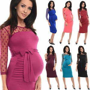 Purpless Maternity 3/4 Sleeve Ruched Bodycon Pregnancy Dress with Top Lace D008
