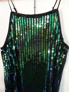 Gorgeous Stretchy Shimmering Blue Green Sequin Evening Party Next Dress Size 16