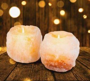 NEW Pure Himalayan Crystal Salt Rock Set of 2 Candle Holders Natural Tea Light