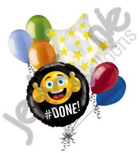 7 pc #Done Emoji Smiley Graduation Balloon Bouquet Party Congratulations Grad