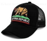 California Republic hat BEAR Logo Foam Mesh Trucker Snapback Baseball cap- Black