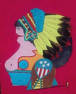 Vtg Pop Art RICHARD LINDNER Serigraph Print MISS AMERICAN INDIAN 3 Biennale
