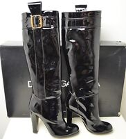 DOLCE & GABBANA Patent Leather Knee High Boots 38.5 Heels Shoes Buckles Black
