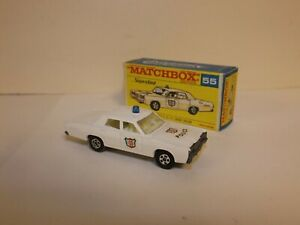 MATCHBOX TRANS. S/F NO.55-A MERCURY POLICE CAR BLUE ROOF LIGHT EARLY ISSUE BOX