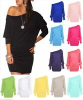 Womens Long Sleeve Off Shoulder Mini Batwing Baggy Tunic Top Ladies Fancy Dress