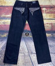 Mens Robin's Black Denim Jeans  Flap Pocket Swarovski Crystals & Studs 32x31 USA