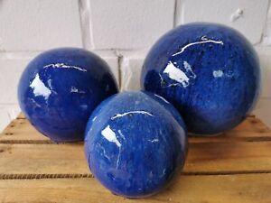 3er Set Gartenkugeln Blau glasiert (12cm, 16cm und 20cm) absolut frostfest deko
