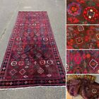 Antique Vintage Persian Red Rectangular Carpet Rug Runner 385cm X 150cm LARGE