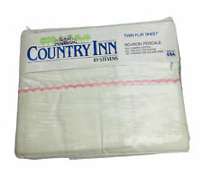 Vintage Country Inn by Stevens Twin Flat Sheet White With Pink Stripe