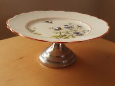"Vintage Floral Footed Cake Stand Plate ~ Roughly 8"" A & just under 3 1/2"" H."