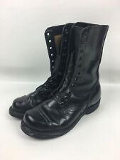 Vintage Carolina Black Leather Cap Toe Jump Boots Made in USA Men's Size 6.5 R