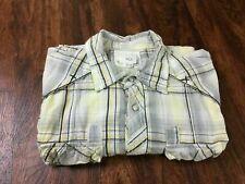BKE Slim Fit Button Down Short Sleeve Gray Plaid Cotton Shirt Men's Size 2XL