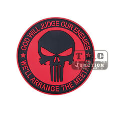 Tactical Red Punisher Skull Patch Military Armband Badge BDU Cloth Backpack Cap
