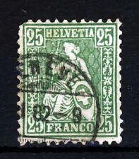Suiza 1867-78 sentado Helvetia 20c. Amarillo-Verde SG 64 VFU