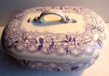 Boite à savon faïence décor lilas mauve, Creil Montereau signée F.G - L.M.& Cie