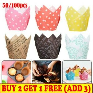 50/100X Multiple Large Tulip Muffin Cases Cupcake Wraps Party Colours Wrapper UK