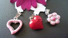 SOLID 925 STERLING SILVER ENAMELLED CHARM PENDANT HEART FLOWER  MADE IN ITALY