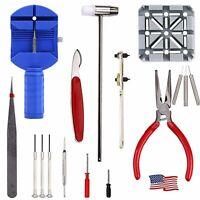 16pcs Professional Watch Band Repair Tool Resizing Kit Case Opener Spring Set HO