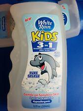 2-White Rain Kids 3in1 Shampoo *Conditioner *Body Wash-12oz ea. New, Unopened