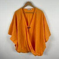 Hourglass Womens Top XL Orange Kaftan V-Neck Button Closure Short Sleeve