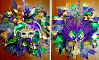 Handmade Deco Mesh Pre-Lit Mardi Gras Wreath Set of 2 or Buy Individually