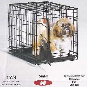 "Single Door Folding Pet i Crate Safety Security Comfort 24""L x 18""W x 19""H #1524"