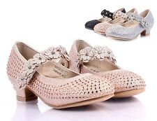 Champagne Toddler Pretty Dressy Shoes Kids Girls Rhinestone Heels Size 12