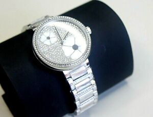 Michael Kors Watch Courtney Stainless Steel Watch Pave Flowers 36mm MK3835 new
