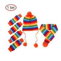 Christmas Cat Dog Puppy Costumes Winter Hat Knit Scarf Leg Warmers Pet Clothes