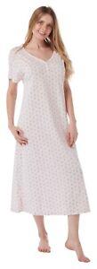 Ladies Long Plus Size Jersey Nightshirt. Pale Pink Sprig. 14-16 to 30-32