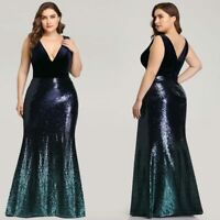 Ever-Pretty Plus Size V-neck Sequins Formal Evening Gowns Cocktail Party Dresses