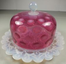 Stunning Victorian Cranberry Glass IVTP Dome Cheese Dish W Fiery Opalescent Base