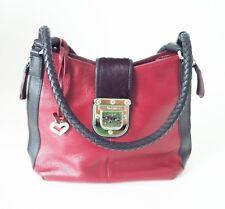 Brighton Authentic Fashionista Purse Handbag Red Leather Black Trim Cow Hair