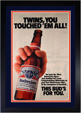 Minnesota Twins 1987 World Series Newspaper Ad by Budweiser Beer Original 18x28