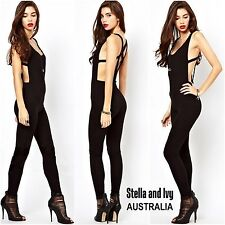 womens black jumpsuit romper bodysuit size 8 au new