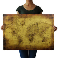 AB_ KF_ Vintage Style Kraft Paper Poster Globe World Map Bar Cafe Pub Wall Decor