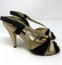 e01ffad83b2 Nina NY Womens Sandals Strappy Black Gold Shoes Heels Slingback Size 8M
