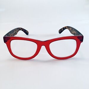 Betsey Johnson Reading Glasses Clear Red Leopard Chunky Retro Frame+1.50