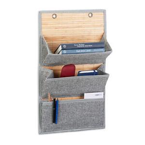 1 x Wandorganizer 3  Fächer, Zeitungshalter für Büro u. Flur, Türorganizer grau