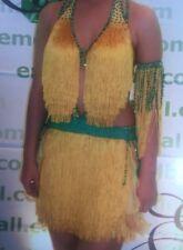 Handmade Yellow & Green Latin Dance Dress With Swarovski Crystals