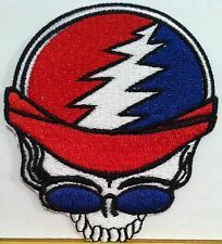 Skull Motorcycle Driver Iron-On Patch Shoulder Emblem USA Colors