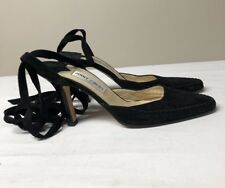 Jimmy Choo London Black Suede Heels With Leather Lace Ups Size 40 Made in Italy