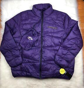 Baltimore Ravens NFL Packable Puffer Jacket w Bag, Purple, Big & Tall Men 5XL