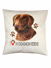 Chesapeake Bay Retriever Heart Breed of Dog Cotton Cushion Cover - Perfect Gift