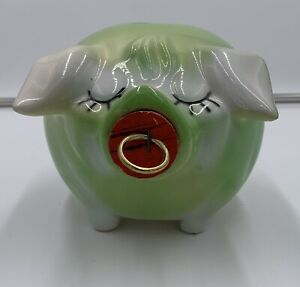 Vintage Corky Pig Hull Ceramic Piggy Bank Rare Green Color With Cork